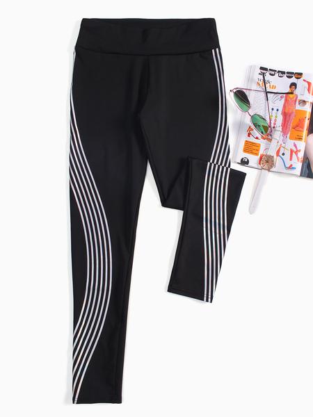 Yoins Black Active Contrast Color Sports Leggings