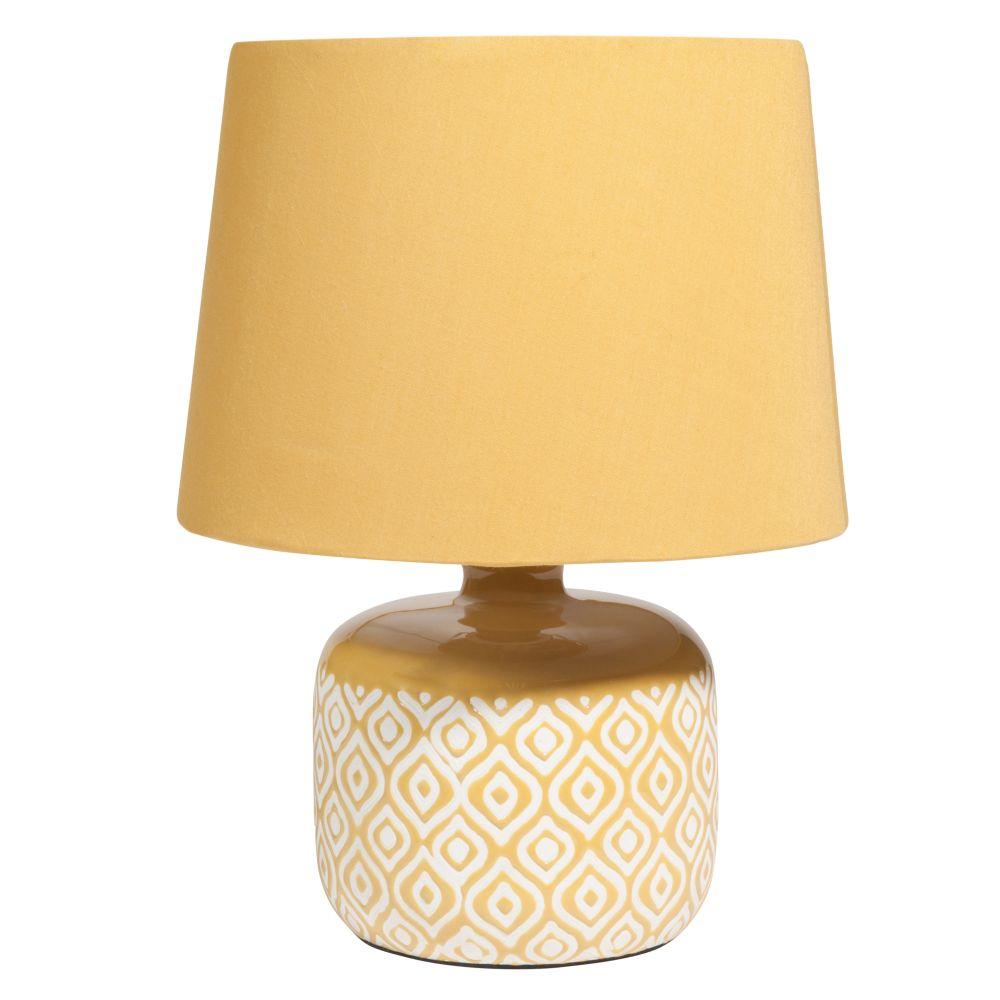 Lampe aus gelber Keramik mit weissen Motiven LYNN