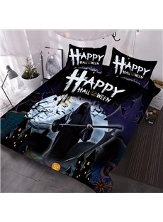 The Grim Reaper Halloween Theme 3D Printed 3-Piece Polyester Comforter Sets