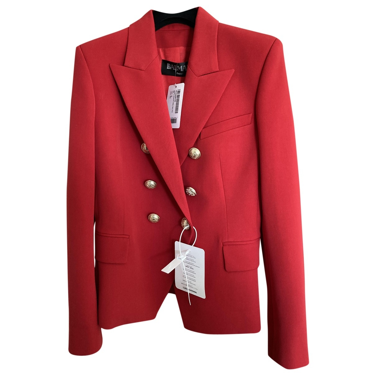 Balmain \N Jacke in  Rot Baumwolle