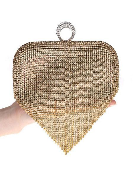 Milanoo Disfraz Halloween Bolso de embrague con vestido de aleta 1920 Gran accesorio de Gatsby Cadena de plata Diamantes de imitacion Mujer Bolso cruz