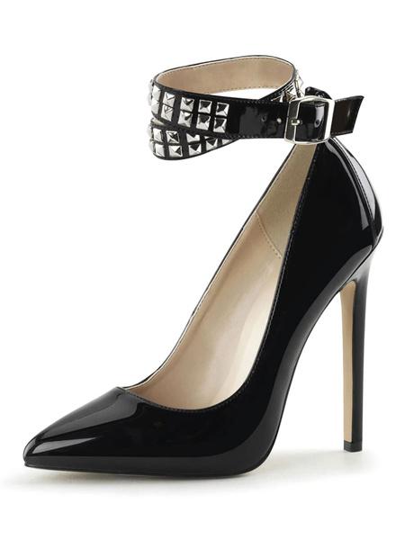 Milanoo Tacones altos para mujer Slip-On Punta puntiaguda Tacon de aguja Lentejuelas Sexy Vintage Shoes
