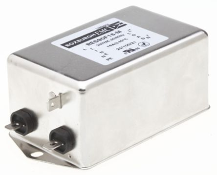 Roxburgh EMC , RES90 16A 250 V ac DC → 60Hz, Chassis Mount RFI Filter, Fast-On, Single Phase