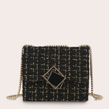 Metal Decor Tweed Chain Crossbody Bag