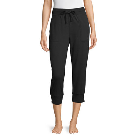 Ambrielle Womens French Terry Pajama Pants, Small , Black