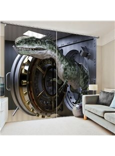3D Dinosaur Printed Amazing Scenery Thick Polyester Decorative and Blacokout Curtain