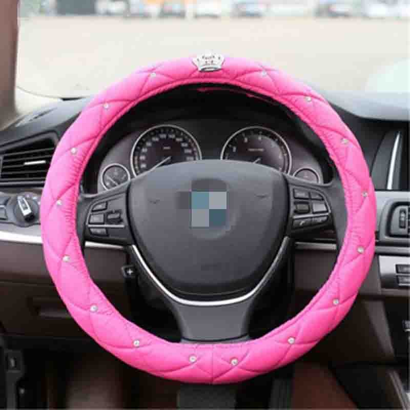 Crown With Diamond,Leather Material Popular Series Car Steering Cover