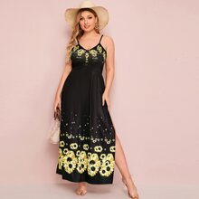 Plus Sunflower Print Tie Back Split Hem Cami Dress