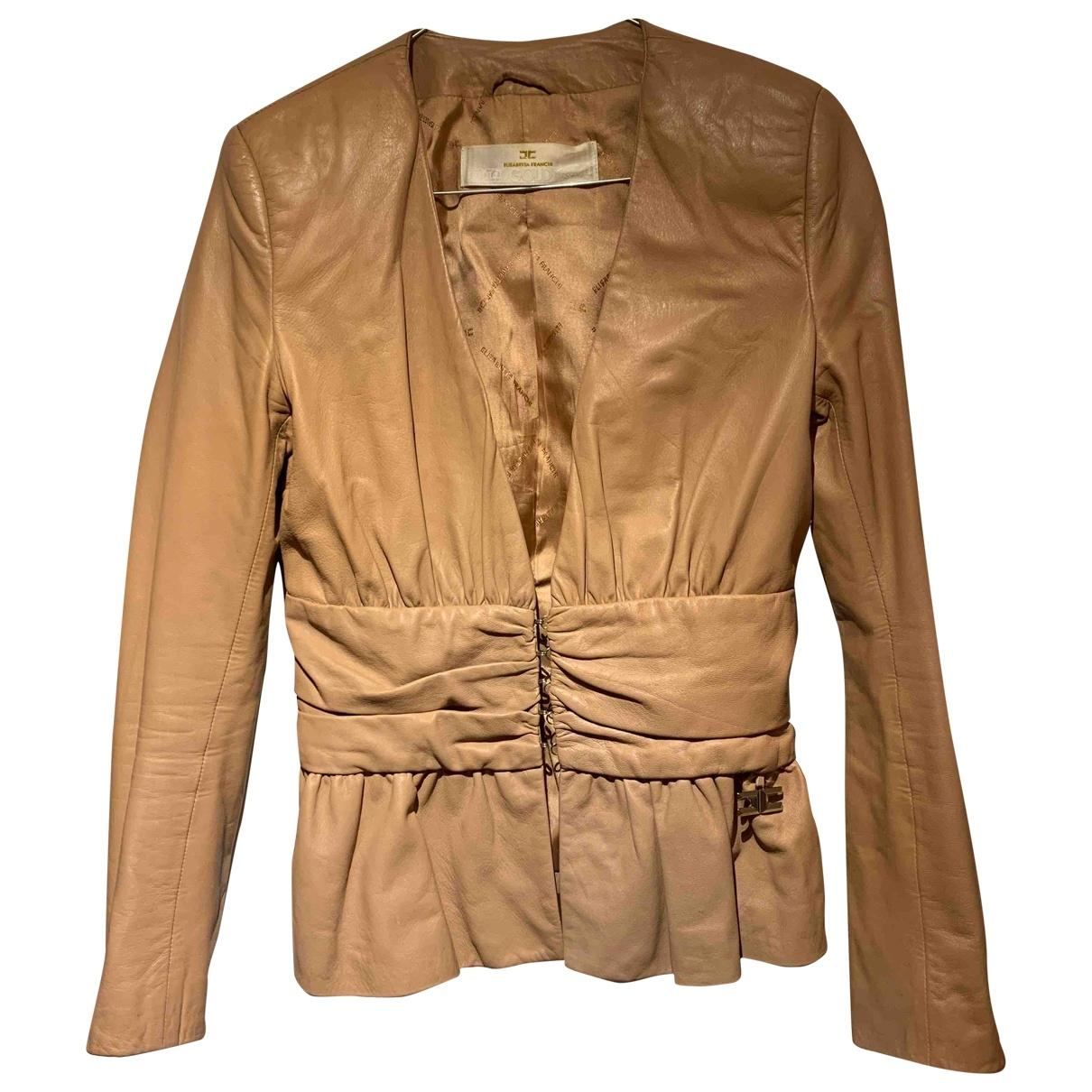 Elisabetta Franchi \N Beige Leather jacket for Women 42 IT