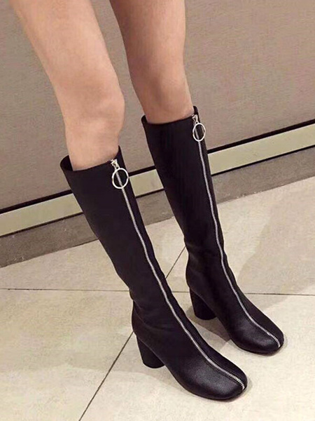 Milanoo Knee-High Boots White Square Toe Chunky Heel 3 Women Boots