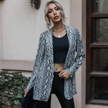 Snakeskin Print Shawl Collar Coat