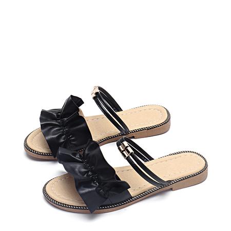 Yoins Black Plain Design Flat Sandals