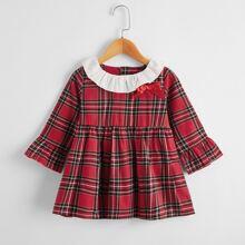 Vestidos para niña pequeña Lazo Tartan Preppy