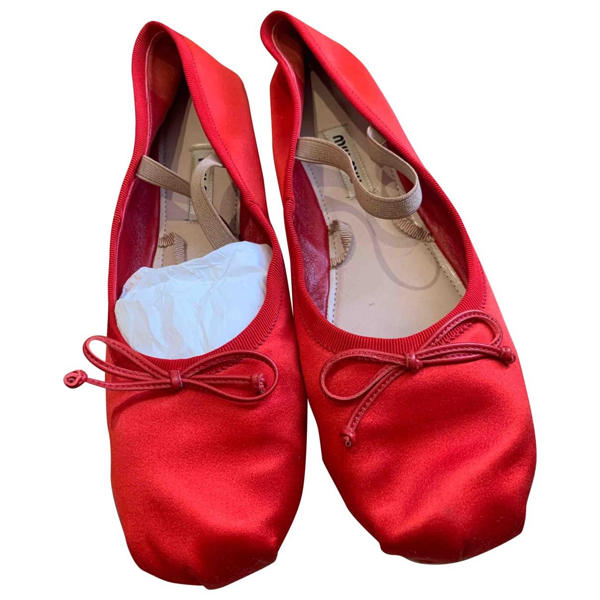 Miu Miu - Ballerines   pour femme en toile - rouge