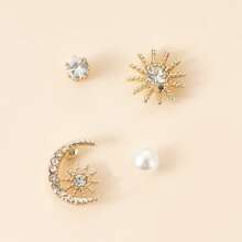 2pairs Girls Rhinestone Decor Stud Earrings