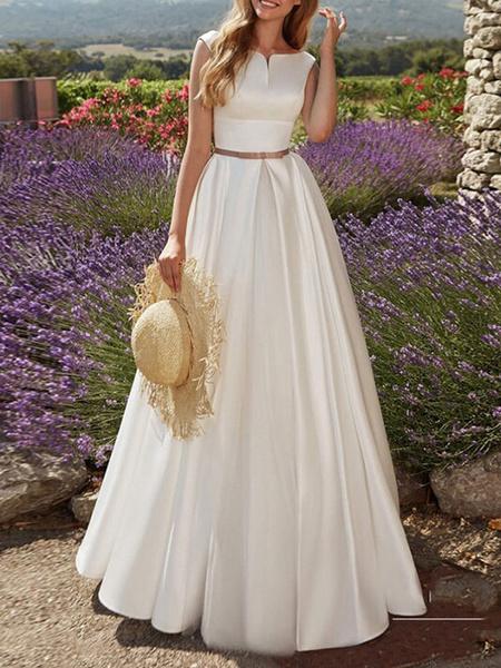 Milanoo Vestidos de novia vintage Hasta el suelo Escote diseñado Faja sin mangas Saten Tela Vestidos de novia