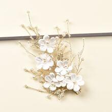 Faux Pearl Flower Hair Clip