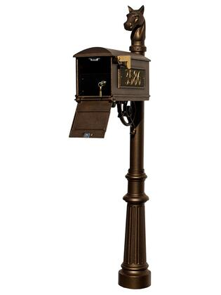 LMC-LKIT-801-BRZ Lewiston Equine Mailbox Post System with Locking Insert  fluted base  horsehead finial and 3 cast aluminum personalized address