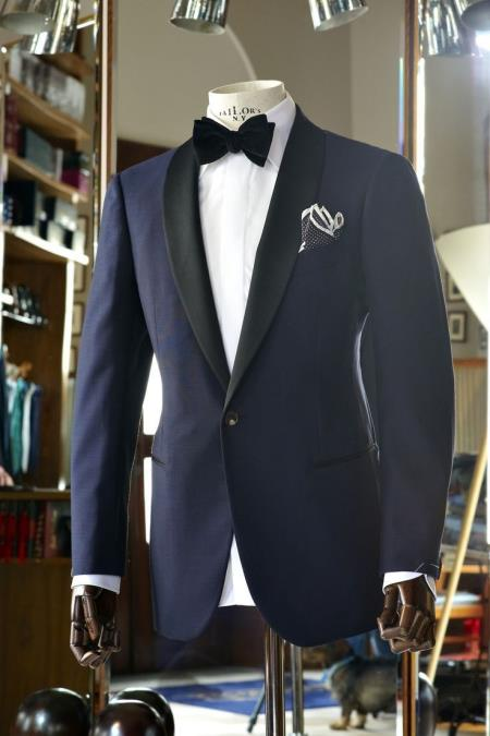 Vested Black Lapel Two toned blue Tuxedo Shawl Collar Single Button