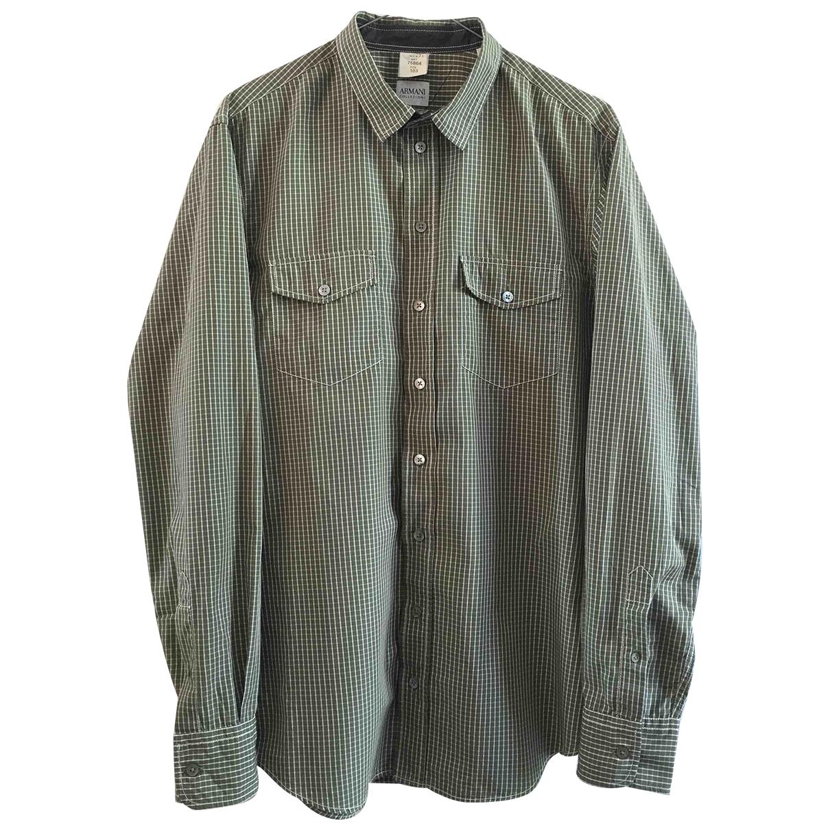 Armani Collezioni - Chemises   pour homme en coton - vert