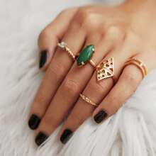 Gemstone Hollow Ring Set 5pcs
