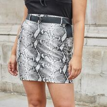 Plus Snakeskin Print Belted PU Leather Skirt