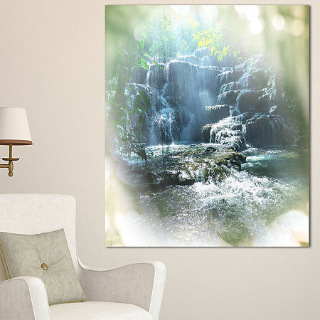 Designart Fantastic Waterfall In Mexico Jungle Oversized Landscape Canvas Art, One Size , Blue