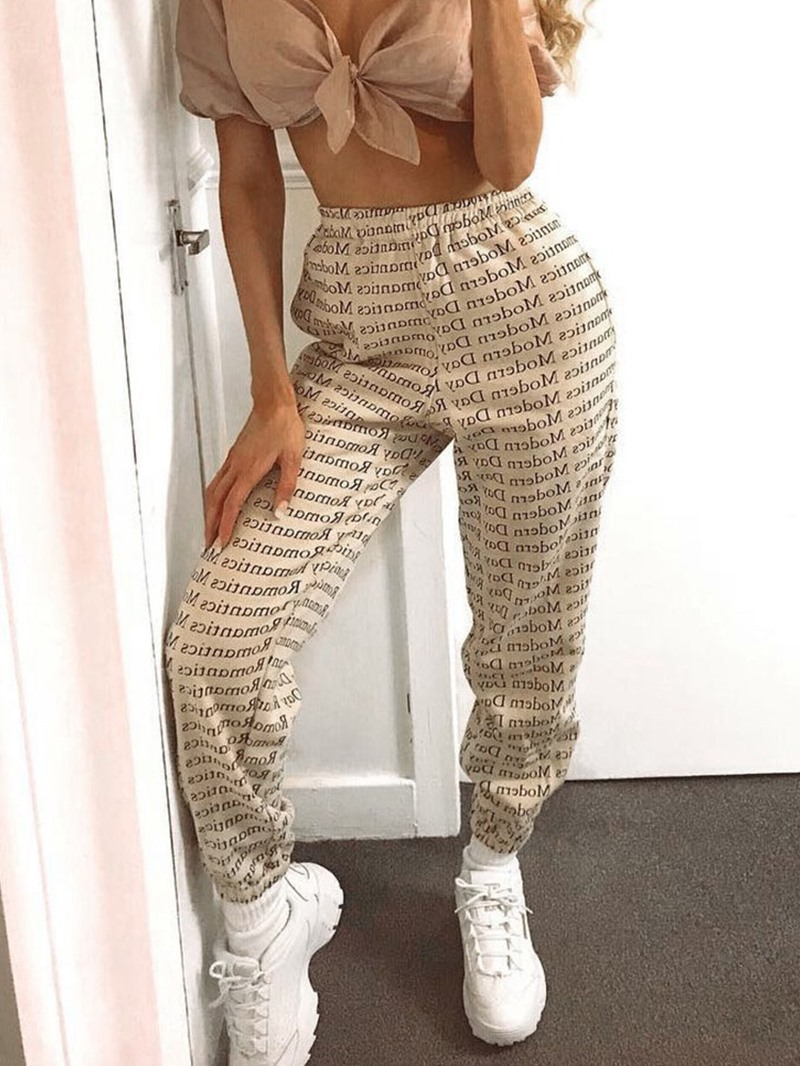 Ericdress Slim Print Letter Ankle Length Casual Pants