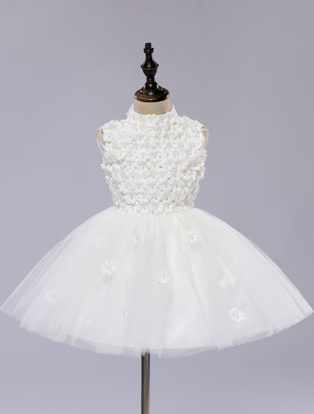 Milanoo Flower Girl's Dress White Toddler's Pageant Tutu Dress With Lace Flower Applique