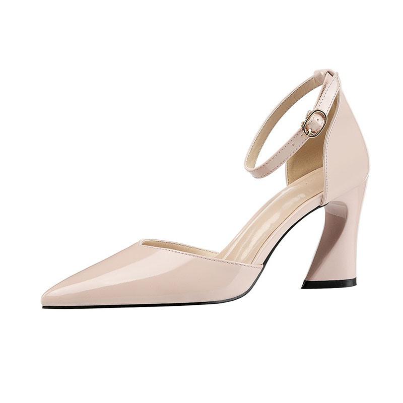 Ericdress PU Pointed Toe Chunky Heel Buckle Women's Pumps