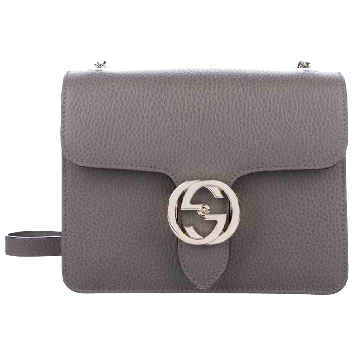 Gucci - Sac a main Interlocking pour femme en cuir - gris