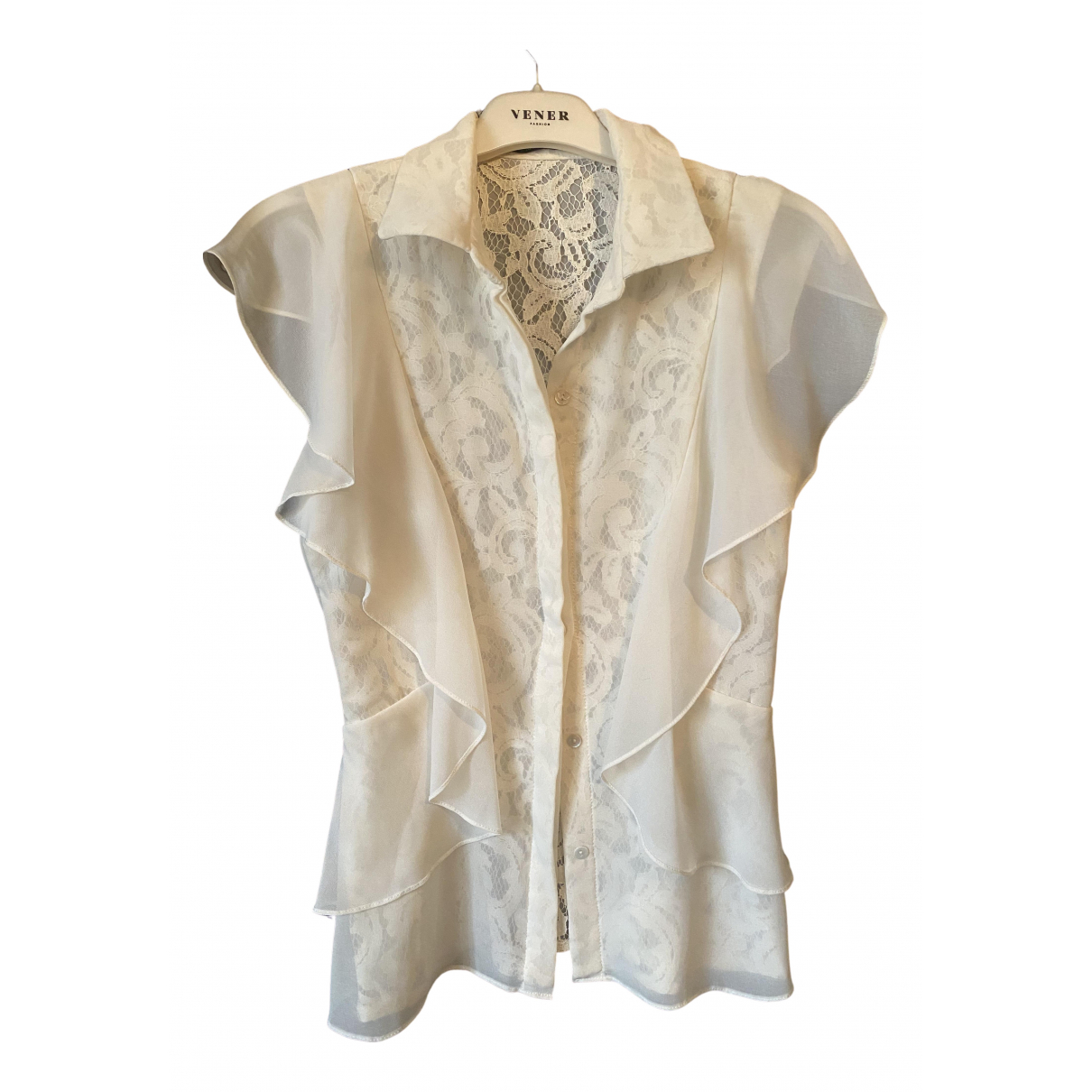 Badgley Mischka \N Kleid in  Weiss Baumwolle