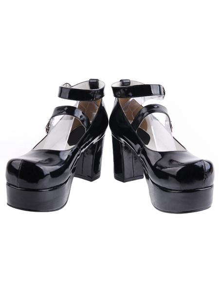 Milanoo Zapatos Lolita Tacones Pony Platform Tirantes de Tobillo Hebilla