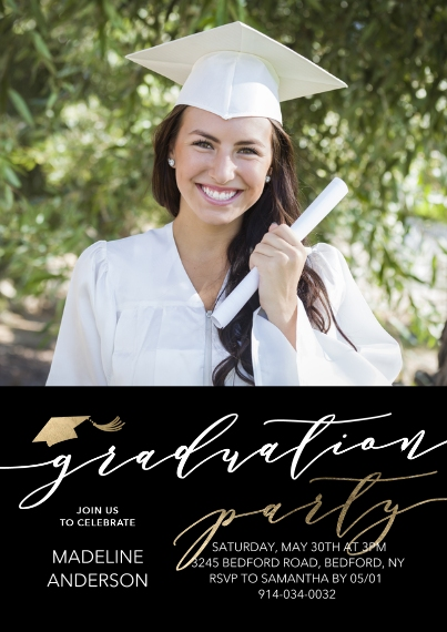 Graduation Invitations 5x7 Cards, Premium Cardstock 120lb with Rounded Corners, Card & Stationery -Graduation Party Script by Tumbalina