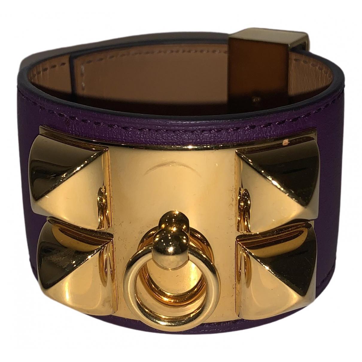Hermès Collier de chien  Purple Leather bracelet for Women \N