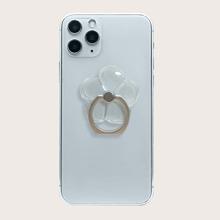 1pc Clear Flower Decor Phone Ring Holder