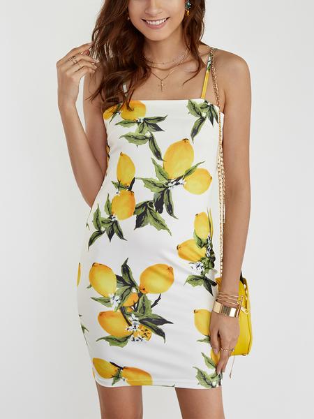 Yoins Yellow Backless Random Floral Print Bateau Sleeveless Mini Dress