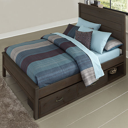 Highlands Alex Bed with Storage, One Size , Brown