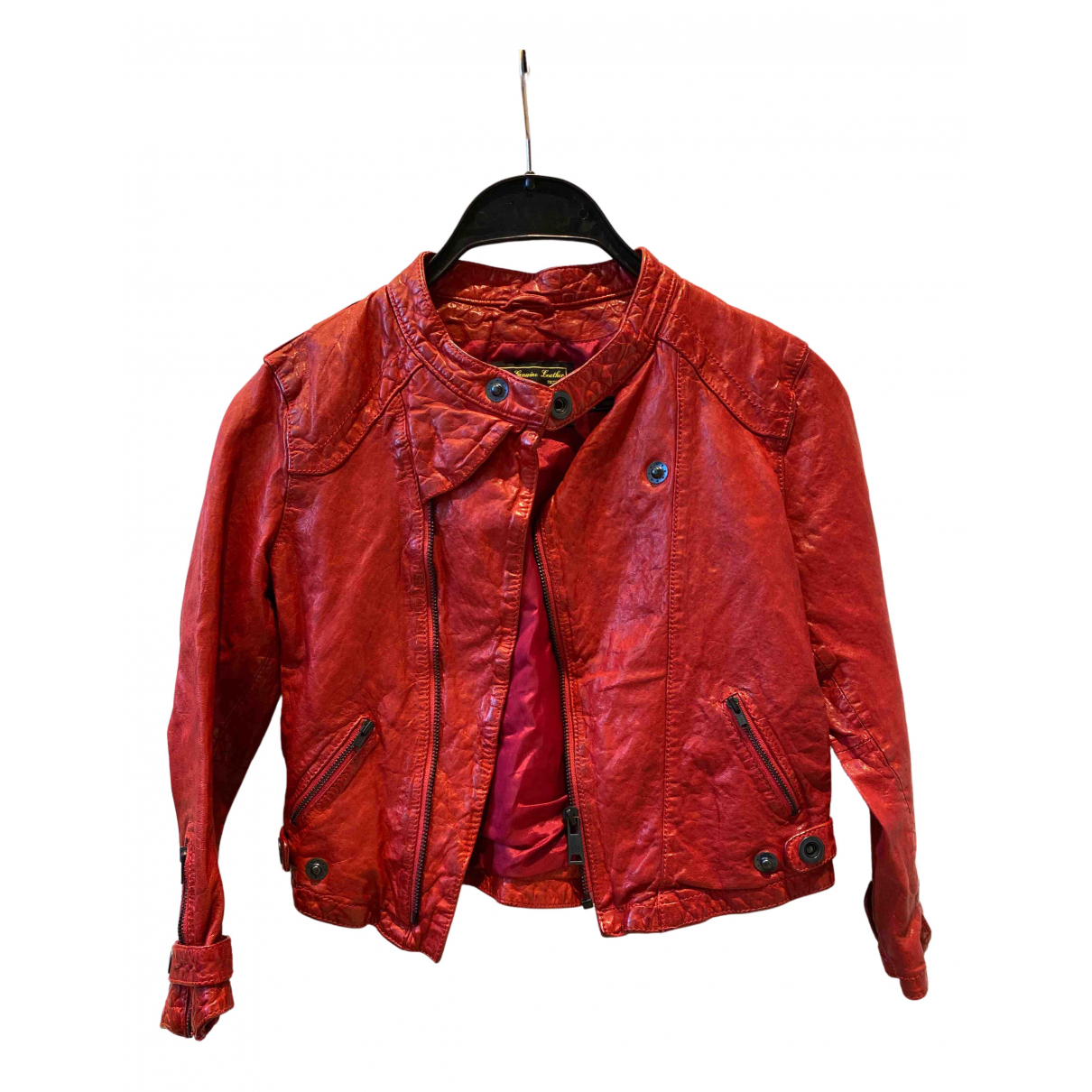 - Blouson   pour femme en cuir - rouge