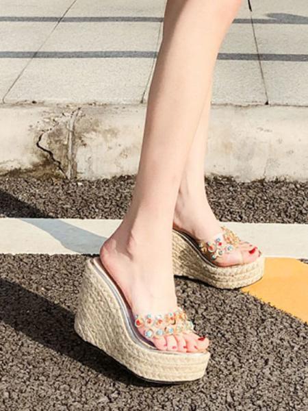 Milanoo Shoes Wedge Sandals Blond Peep Toe Rhinestones PVC Upper