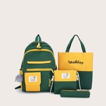 4 piezas set mochila de niños de color combinado