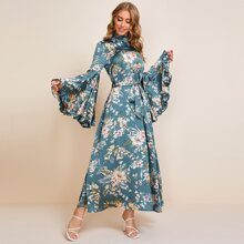 Frill Trim Bell Sleeve Belted Floral Satin Dress