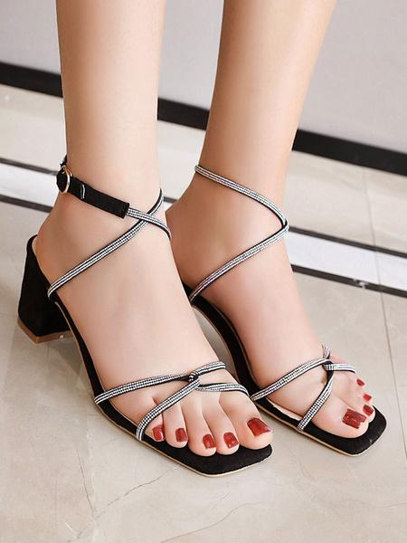 Milanoo Sandalias de talla grande Sandalias negras con punta abierta Criss Cross Sandalias de tacon medio para mujer