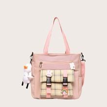 Girls Cartoon Charm Plaid Pattern Tote Bag