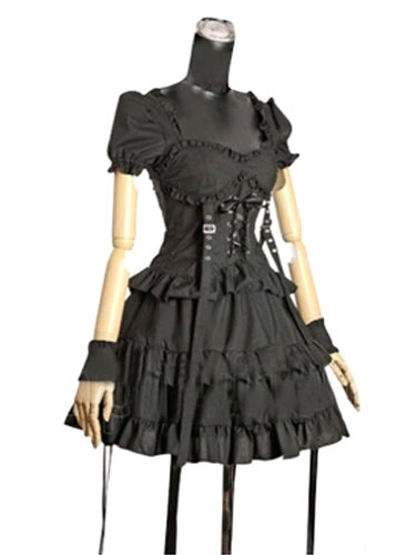 Milanoo Black Cotton Gothic Lolita One-Piece for Women