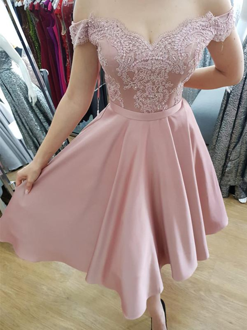 Ericdress Off-The-Shoulder Appliques Tea-Length Homecoming Dress