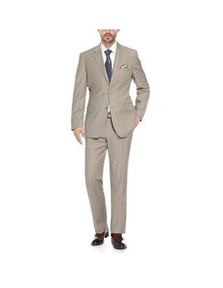 Verno Mens Tan and Blue Notch Lapel Solid Pattern Slim Fit 2Piece Suit