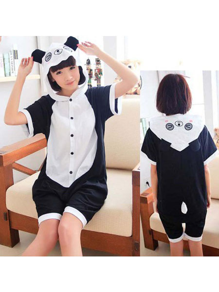 Milanoo Panda Kigurumi Pajamas Onesie Black Short Summer Animal Sleepwear For Adults