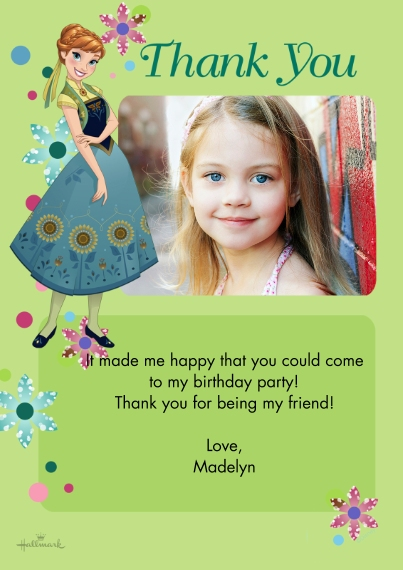 Kids Thank You Cards 5x7 Cards, Premium Cardstock 120lb with Rounded Corners, Card & Stationery -Frozen Fever Thank You