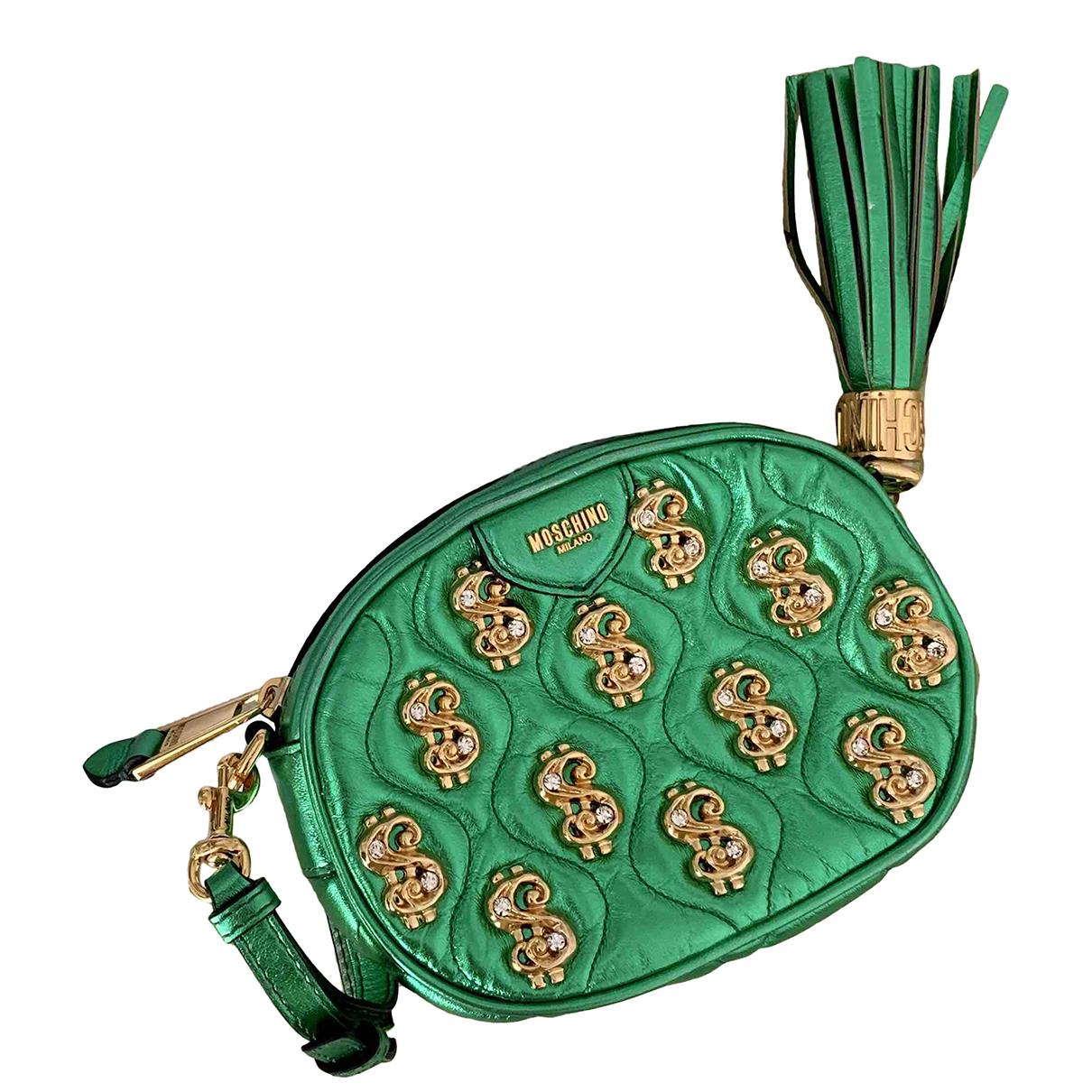 Moschino - Pochette   pour femme en cuir - vert